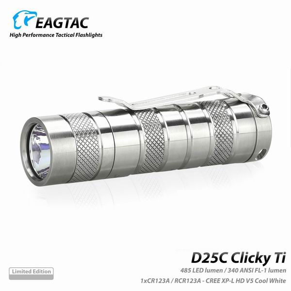 Фото - Фонарь Eagletac D25C XP-L V5 (485 Lm) Titanium Limited Edition