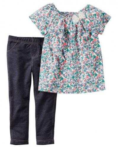 Фото - Комплект Carter's Комплект одежды- топ в цветочный принт и леггинсы