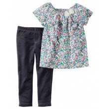 Комплект одежды- топ в цветочный принт и леггинсы