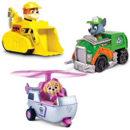 Фото - Фигурка Spin Master Paw Patrol Скай, Крепыш и Рокки на своих транспортных средствах Щенячий патруль, набор