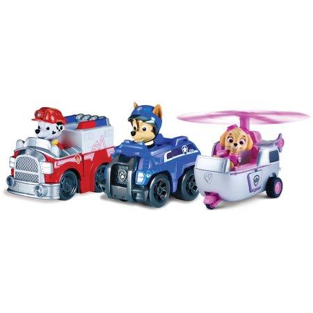 Фото - Фигурка Spin Master Paw Patrol Чейз, Маршалл и Скай, на своих транспортных средствах Щенячий патруль, набор