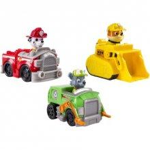 Маршалл, Крепыш и Рокки на своих транспортных средствах Щенячий патруль, набор