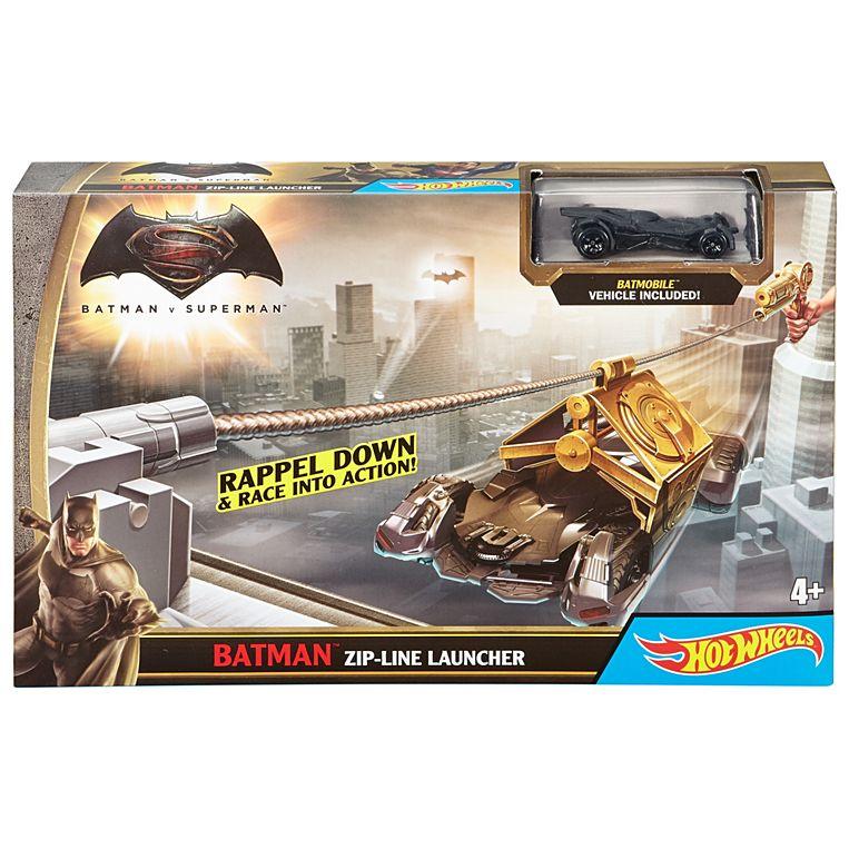 Фото - Автомобильный трек Hot Wheels Бэтмен Batman v Superman Dawn of Justice Batman Zipline Launcher Trackset
